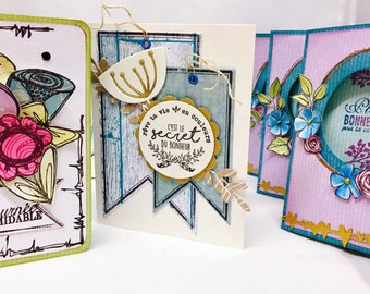 Set of three floral cards