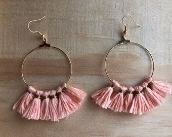 Pale pink cotton tassel hoop earrings gold Gold Filled