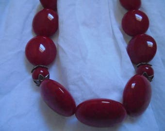 10% off Deep Red Beaded Necklace with Matching Earrings