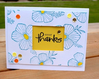 Hand Made Floral Thank You Card