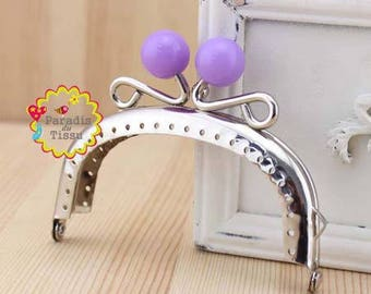 1 x 8.5 cm Pearl ring with fancy bag clasp resin violetL C62
