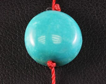 Adjustable bracelet with turquoise - red thread