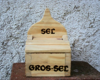 Box has salt in natural pine wood