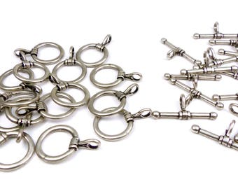 15 x sets Toggle clasps antique silver