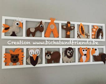 Decorative wall frame inner child and unique baby and idea - Americas Theme - orange and Brown