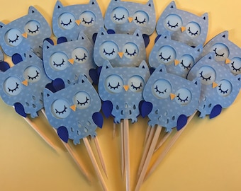 Cupcake owl toppers, pack of 12, blue, pink, yellow personalize yours according to your theme.