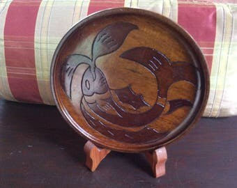 Vintage Wooden Carved Fish Plate with wooden holder