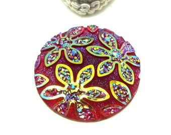 1 cabochon 30 mm round resin glittery red AB flower - 30 mm