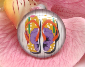 1 cabochon 25 mm glass flip flops Beach 6-25 mm