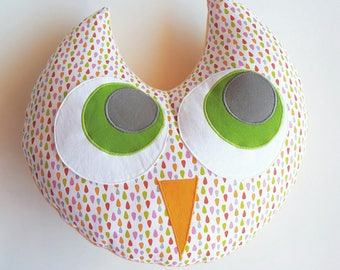 Cotton OWL pillow orange 33cm