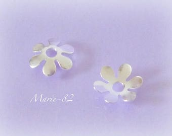 2 cups flowers 9 mm - Silver 925/1000