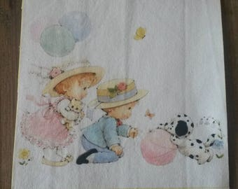 Fabric tile 15 X 15 cm / sew or glue / illustration babies