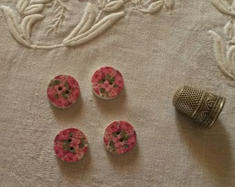 4 pink painted wood buttons / liberty spirit