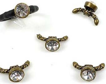 In-between/metal clasp, for buna cord with Rhinestone Crystal ± 21x13mm