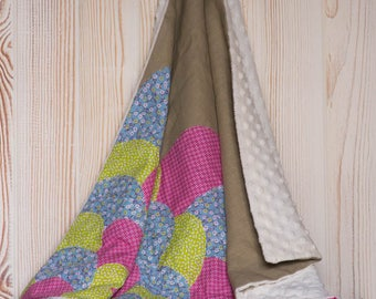 Baby blanket or child patterns pink/blue/lime hill