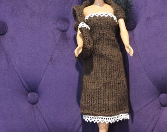 Dress, bag for Barbie knitted hands and shoulders