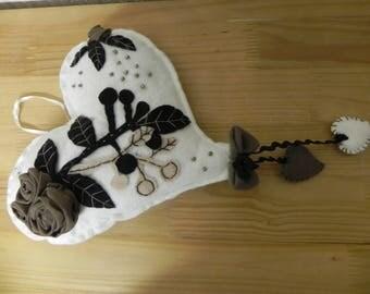 wall hanging fleece heart shape completely handmade