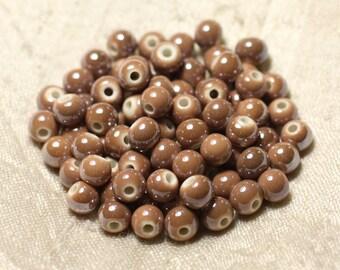 100pc - beads ceramic porcelain balls 6 mm iridescent Brown Beige