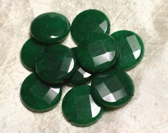 Stone - Green Jade bead 1pc - faceted disc 25mm 4558550015587