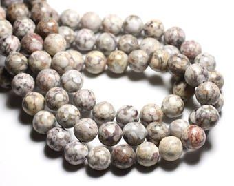 10pc - stone beads - Ocean fossil Jasper balls 8mm - 4558550081650