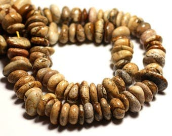 10pc - beads gemstone rondelle beads 8-12mm - 8741140016194 Chips Beige Jasper