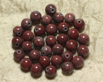 10pc - stone - red Jade beads and grey balls 8mm 4558550025586