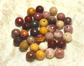 5pc - stone beads - Moukaite Jasper faceted 8mm 4558550025746 balls