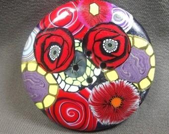 Round button 4.3 cm: Red summer bouquet