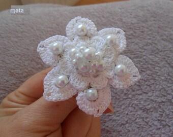 white crochet flower ring