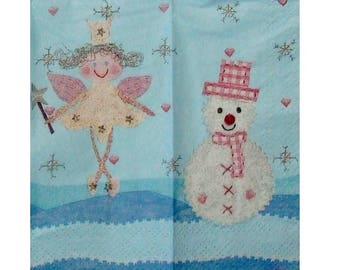 Set of 3 tissue paper NOE055 fairy and snowman