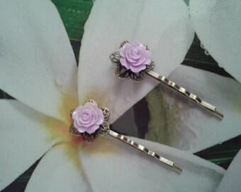 Purple bronze flower Barrettes