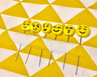 Pack of six pins smileys Fimo