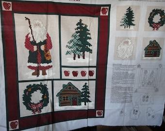 Vintage Northwoods Noel fabric panel