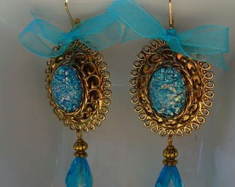 Turquoise beads and gold earrings