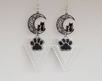 CAT and black cat paw earrings