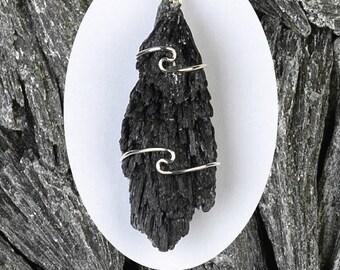 One Black Kyanite Wire Wrap Pendant! .925 Sterling Silver! Very Rare & Powerful! Protection, Grounding, Balance, Soul Retrieval!
