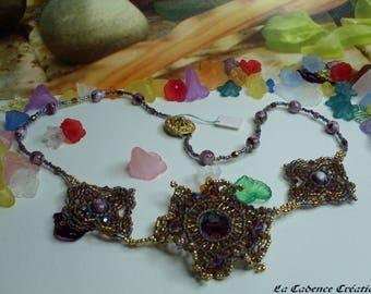 Delica beads and swarovski crystals 'Fleur Etoilée' necklace