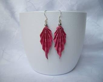 "Earrings ""leaf"" origami, paper and Pearl"