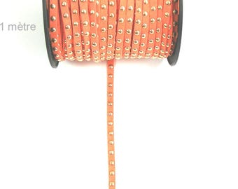 Suede studded cord salmon 6mm X 1 meter