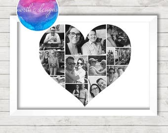 Personalised Love Heart Collage by North C Designs