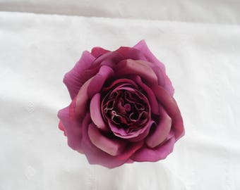 PIN, Burgundy satin Flower Pink Purple on a jacket or a wedding dress