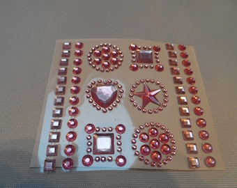 54 half adhesive pearls, cabochons, rhinestone rose different shapes and sizes embellishment