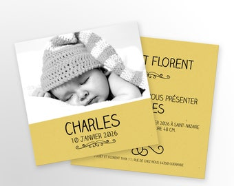 Invitation baby girl or boy, mixed - to personalize - Charles model