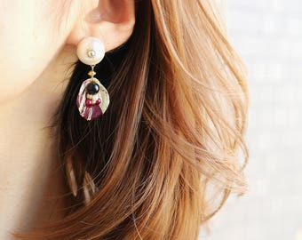 Wine red rose earrings black onyx - Red real flower earrings, Real rose petals, Red rose earrings, Flower resin jewelry, Real rose petals