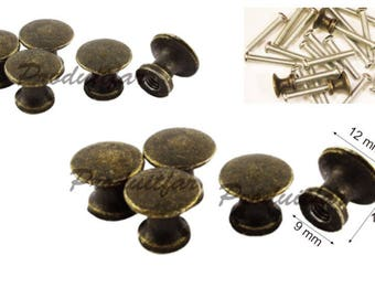 Set of 6 filing drawer furniture business record 12 mm Bronze colored button handle