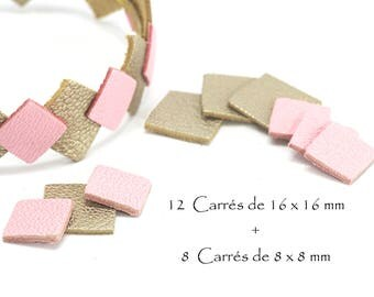 Set of 12 squares 16 x 16 mm + 8 square 8 x 8 mm - square leather - color gold clear and Rose Tendre set