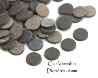 6 round genuine leather - Diam. 8 mm - goat leather - charcoal grey color set