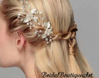 Leaf hairpin,wedding hairpin,bridal hair accessories,pearl hairpin