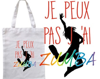 "TOTE BAG 100% cotton ""I can't I zumba"""