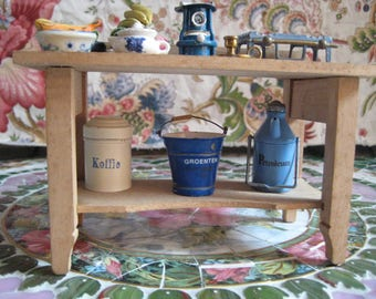 Dollhouse kitchen table with accessories